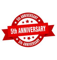 5th anniversary ribbon 5th anniversary round red vector image