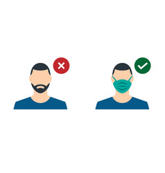 A guy with a medical mask and a guy without a vector