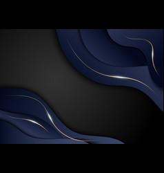 Abstract elegant dark blue color wave shape vector