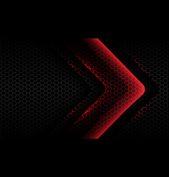 Abstract red light neon arrow dark hexagon mesh vector