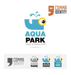 aqua water park or swimming pool logo concept vector image