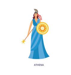 Athena greek goddess wisdom and war flat vector