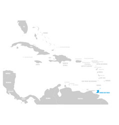 bahamas blue marked in the map of caribbean vector image