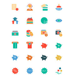 Banking and Finance Colored Icons 10 vector image