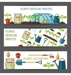 Banners with agriculture objects Instruments for vector