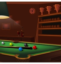 billiard balls composition on green pool table vector image
