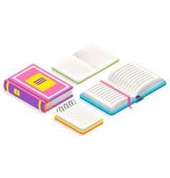 book with ribbon bookmark printed copybook vector image