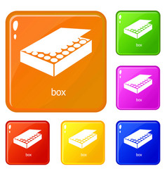 box icons set color vector image