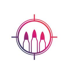 Bullets ammo logo with crosshair vector