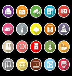 Cafe and restaurant flat icons with long shadow vector
