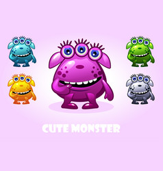 cartoon cute monster in different colors vector image