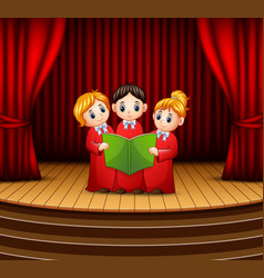 Cartoon of children choir performing on stage vector