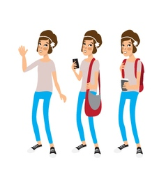 Caucasian hipster girl with a short hair vector