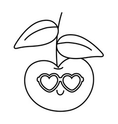 Cherry with heart sunglasses black and white vector