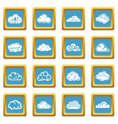 cloud icons set sapphirine square vector image