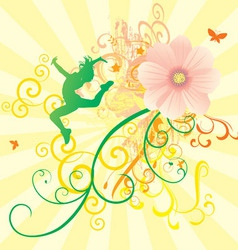 color dance flowers girl vector image