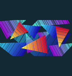 colorful triangles eighties background vector image