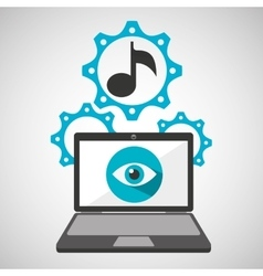 computer security music social network concept vector image
