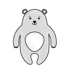 Cute scribble bear cartoon vector