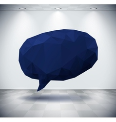 Dark geometric speech bubble in white room vector