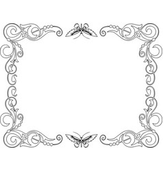 Decorative frame from tendrils and butterflies vector