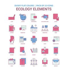 Ecology elements icon dusky flat color - vintage vector
