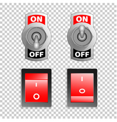 Electric switch buttons on off position 3d vector