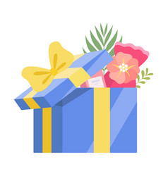 festive opened gift box with yellow bow present vector image