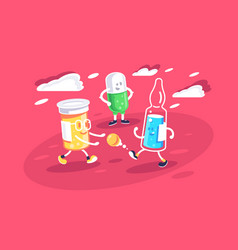 flat ampoule pill and jar playng with vitamin vector image