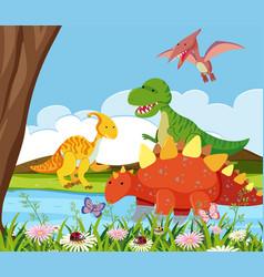 flat dinosaur in nature vector image