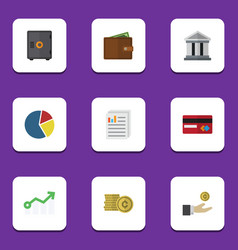 Flat icon incoming set of strongbox document vector