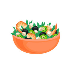 flat icon of big orange bowl with fresh vector image