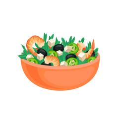 flat icon of big orange bowl with fresh vector image