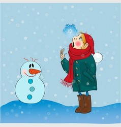 Girl and snowflakes vector