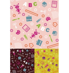 Girl boy and ABC seamless background vector image