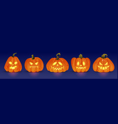 Glowing halloween pumpkin characters evil and good vector
