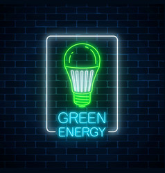 glowing neon sign of green led light bulb with vector image