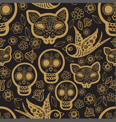 Gold seamless pattern day of the dea vector