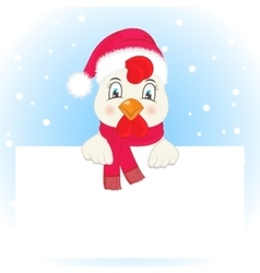 Greeting card with a rooster in a Santa Claus hat vector