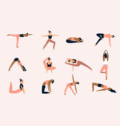 group girls doing yoga characters in different vector image