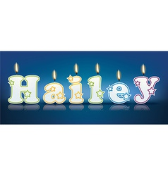HAILEY written with burning candles vector