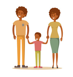 happy afro-american family father mother and son vector image