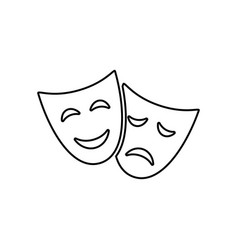 happy and sad drama mask simple outline icon vector image