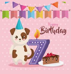 Happy birthday card with dog vector