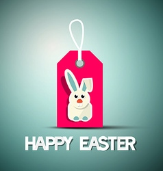 Happy Easter Retro Card with Bunny on Pink Label vector