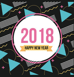 Happy new year 2018 card round banner geometrical vector