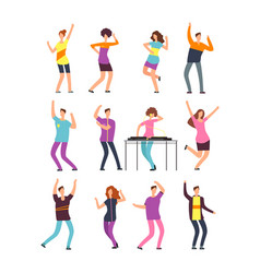 Happy young people dancing man and woman cartoon vector