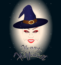 head of a smiling girl witch vampire vector image