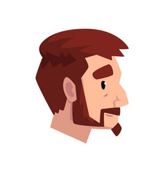 Head of young bearded man with brown hair profile vector