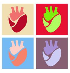 Heart icon world medecine in flatstyle vector
